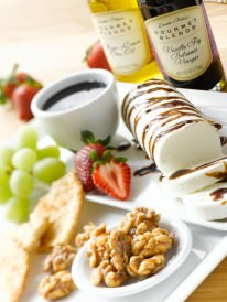 Iris' Fruit Platter and Goat Cheese Log with Vanilla Fig Balsamic Vinegar and Walnuts with Meyer Lemon Infused Olive Oil