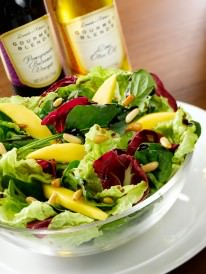 Pomegranate-Balsamic-and-Lime-Olive-Oil-on-Mango-Salad