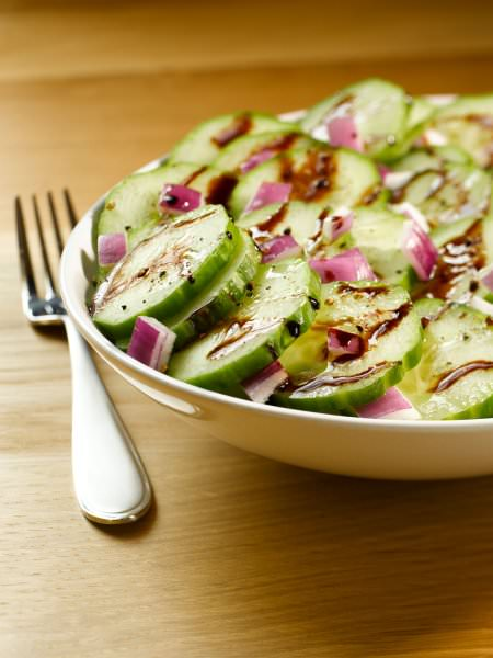 Richard's Cucumber and Red Onion Salad with Black Currant Balsamic Vinegar and Rosemary Olive Oil