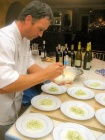 Chef Rick Boxeth at private home catering event in kitchen Orange County CA
