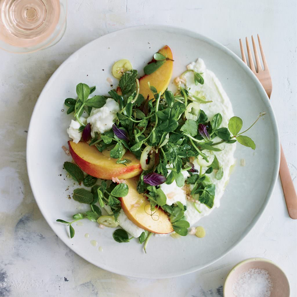 Burrata Salad with Peaches:: Pickled Peppers and Pea Tendrils Beauty + A150402 Food & Wine + Best New Chefs + July 2015